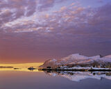 Fading Light Straumsnes, Straumsnes, Senja, Norway, mango, slice, lilac, clouds, sunset, dusk, peaks, snow, winter, refl photo