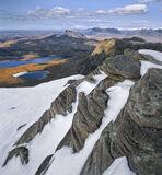 Fiddler's View, The Fiddler, Inverpolly, Scotland, precipitous, rockface, snow, treacherous, parallel, layered, sandston photo