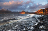 Final Curtain Elgol, Elgol, Skye, Scotland, Cuillins, transient light, Sgurr Nastri, gold, grey, winter, clouds, extraor photo