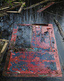 Final Exit, Blairs Loch, Moray, Scotland, old, boat shed, painted, red, blue, peeled, skins, vandalised, door, sad, fina photo