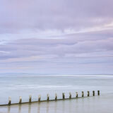 Findhorn Blush, Findhorn Bay, Moray, Scotland, gentle, misty, windless, summer, delicate, clouds, pink, groyne, pastel,  photo