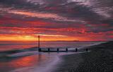 Findhorn Firestorm, Findhorn Bay, Moray, Scotland, intense, sunrise, slice, horizon, cloud, tide, orange, red, gold, gro photo