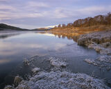 First Light Achanalt, Loch Achanalt, Strathbran, Scotland, kiss, light, illuminates, ginger, frost, cold, blue, boundary photo