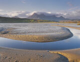 First Light Ben Loyal, Tongue, Sutherland, Scotland, sunrises, dawn, colours, warm, summer, mountains, clouds, estuary photo