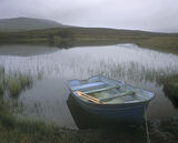 Fishermans Lament, Loch Awe, Assynt, Scotland, loch, sad, dreary, meloncholy, summer, damp, evocative, scene, blue boat photo