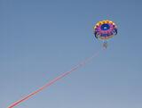 Flying High, St Nicholas, Zakynthos, Greece, two, children, parachute, motor boat, speeding, bay, colourful  photo