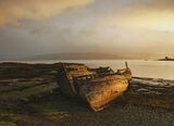 Forever Stranded Salen, Salen, Mull, Scotland, boats, old, decrepit, decaying, beach, iconic, hulks, wood, reflected, golden, epic, squall, wet, sunrise
