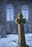 Forgotten Corner, Fintry, Campsies, Scotland, Glasgow, church, blue, shadow, frost, grave stones, cross, Celtic  photo