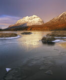 Fractured Loch Clair, Loch Clair, Torridon, Scotland, winter, mornings, clouds, sunlight, snow, Liathach, moody, reflect photo