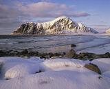 Fresh Snowfall Flakstad, Flakstad, Lofoten, Norway, sunset, beach,strip, golden sand, scale, curve, beach comber, mounta photo