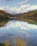 Fringe Loch Chon, Loch Chon, Trossachs, Scotland, light, reflections, clouds, patches, sunlight, shade, hills, islands,  photo