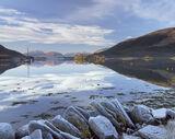 Frosted Mirror Kinlochleven, Kinlochleven, Glencoe, Scotland, frozen, jetty, slates, hoar frost, frost, mirror, blue, co photo