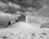 Frozen Duffus Mono, Duffus Castle, Moray, Scotland, frozen, snow, bright, ruined, winter, sunshine, monochrome, hill photo
