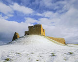 Frozen Duffus, Duffus Castle, Moray, Scotland, ruined, winter, sunlight, golden, blue, cloud, dappled, snow   photo