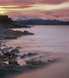Gairloch Sunrise, Big Sands, Gairloch, Scotland, spur, lighthouse, Torridon, mountains, snow, winter, sunrise, tide  photo