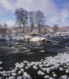 Glascarnoch Ice River, Glascarnoch, Highlands, Scotland, dam, golf balls, snow, pebbles, stream, birch trees, clouds, ri photo
