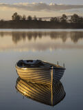Gold Plated Rusky 3, Loch Rusky, Trossachs, Scotland, morning, sunshine, mist, golden, light, shines, varnished, woodwor photo
