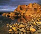 Gold Wash, Cove Bay, Moray, Scotland, evening, Hopeman, divine, golden, light, tawny, pebbles, stormy, sky, summers, sto photo