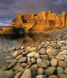 golden, cove, Moray, Hopeman, Scotland, pebbles, sunlight, edifice photo