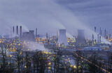 Grangemouth Blue, Grangemouth, Fife, Scotland, industrial, twilit, steamy, blue, refinery, surreal, otherworldly, liquid photo