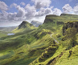 High Summer, Quiraing, Skye, Scotland, light, shade, bumps, depressions, greenery, white, clouds, sky, colour, joy, patt photo
