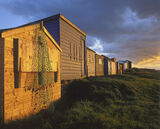 Hopeman Beach Huts, Hopeman, Moray, Scotland, line, huts, north, summer, sun, bay, incident, reflection, light, golden,  photo