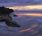 Hopeman Rimlight, Hopeman, Moray, Scotland, dendritic, lines, drainage, purple, twilight, pink, winter, wet, sand, sky,  photo