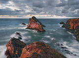 Hot Rocks Portknockie, Portknockie, Moray, Scotland, Bowfiddle stacks, tides, weather, sea, red, blood, heavy, steely, s photo