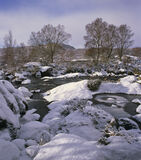 Ice Water Glascarnoch, Glascarnoch, Highland, Scotland, river,  tumbles, moor, ice, snow, free flowing, hazy, clouds   photo