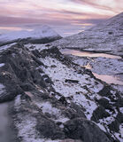 Ice Ridge An Teallach, An Teallach, Dundonnell, Scotland, peaks, ice, snow, treacherous, ridge, sunset, pinkening, sky,  photo