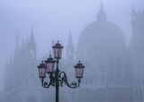 Illicit Rendezvous, St Marks Square, Venice, Italy, October, mist, buildings, ancient, enveloped, pink, venetian, lamps, photo