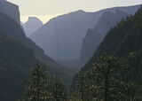 Inspiration Point, Yosemite, California, USA, iconic, El Cap, Half Dome, National Park, haze, recessionary, morning, lig photo