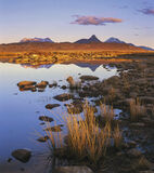 Inverpolly Embers, Achnahaird, Inverpolly, Scotland, lochan, golden, winter, still, sunset, blue, sky, colours, grasses, photo