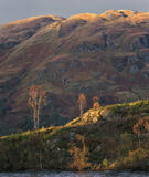 Island Birch Katrine, Loch Katrine, Trossachs, Scotland, pleasurable, view, Pier Cafe, storm, light, golden, sunlight  photo