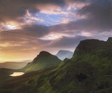 Jurassic View, The Quiraing, Skye, Scotland, sumptuous, prehistoric, Jurassic, caramel, dawn, pool, glinting photo