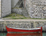 Lesley, Portsoy, Banffshire, Scotland, red, painted, boat, quaint, harbour, steps, quayside, ladder, rope, tide photo