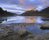 Liathach Gold, Loch Clair, Torridon, Scotland, winter, dawn, clouded, sky, sun, painting, pink, crown, gold photo