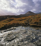 Light O'er Hills, Strathfarrar, Highland, Scotland, shining, slab, bedrock, sunlight, cloud, deer grass, autumnal, colou photo