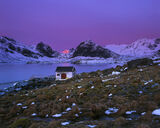 Little Krystad Gloaming, Little Krystad, Lofoten, Norway, favourite, remote, hamlet, white, boat shed, fjord, sunrise, m photo