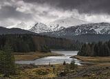 Lochaber View, Glen Spean, Highlands, Scotland, snow, peaks, Laggan, epic, silvery, light, larch, pine, summit, sunlight photo