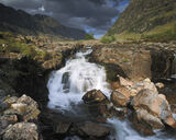 Lower Falls Glencoe, Clashaig, Glencoe, Scotland, fan, waterfall, tumbling, summer, spectacular, dappled, light, atmosph photo