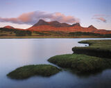 Loyal Blood, Kyle of Durness, Sutherland, Scotland, sunlight, Ben Loyal, salt marshes, cushions, emerald, grass, islands photo