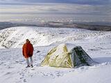 Me My Tent And I, Tom Na Gruigach, Torridon, Scotland, summit, high, white, wind, peaks, alpine, clear, morning photo
