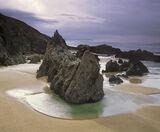 Mangerstadh Stacks, Traigh Mangerstadh, Lewis, Scotland, immaculate, beach, golden, sand, gleaming, pool, virgin, cliffs photo