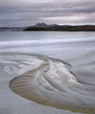 Mellon Meander, Mellon Udrigle, Laide, Scotland, peat, little, stream, carves, route, red, sands, cold, rainy, sunrise photo