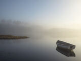 Misty Morning Rusky 1, Loch Rusky, Trossachs, Scotland, serenely, moored, row boat, perfect, serenity, soft transition
