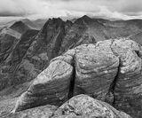 Moody Mountain Mono, An Teallach, Dundonnell, Scotland, sandstone, sculpted, wind, pancaked, craggy, peak, mood, mountai photo