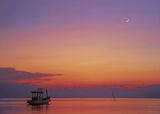 Moonlight Sonata, Pra Ngan, Krabi, Thailand, perfect, exotic, sunset, re, orange, violet, boat, moon, crescent, sky  photo