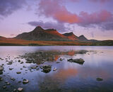 Moonrise Ben Loyal, Loch Hakel, Sutherland, Scotland, Ben Loyal, cloud, sunset, red, shallow, water, stones, peak, refle photo