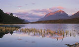 Moonset Clair, Loch Clair, Torridon, Scotland, Liathach, strawberry, topping, sunrise, pinkening, clouds, frozen, clarit photo